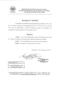Resolução Nº. 019-2015 CMS