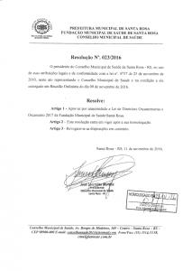 Resolução Nº. 023-2016 CMS